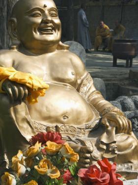 Golden Buddha Statue at Shaolin Temple, Birthplace of Kung Fu Martial Arts, Shaolin, Henan, China by Kober Christian