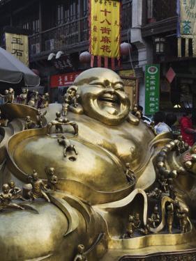 Golden Statue of a Reclining Laughing Buddha, Hangzhou, Zhejiang Province, China by Kober Christian