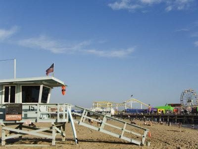 Life Guard Watch Tower, Santa Monica Beach, Los Angeles, California, USA