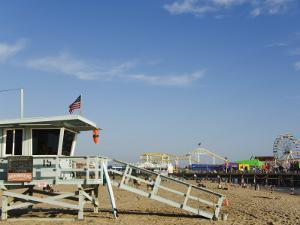 Life Guard Watch Tower, Santa Monica Beach, Los Angeles, California, USA by Kober Christian