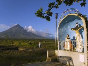 Mount Mayon and Grotto or Wayside Shrine, Bicol Province, Luzon Island, Philippines by Kober Christian