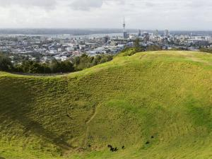 Panoramic City View from Mount Eden Volcanic Crater, Auckland, North Island, New Zealand, Pacific by Kober Christian