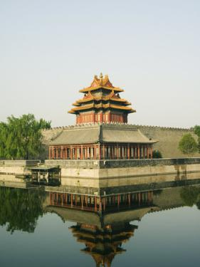 Reflection of the Palace Wall Tower in the Moat of the Forbidden City Palace Museum, Beijing, China by Kober Christian