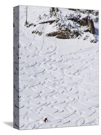 Skiers Making Early Tracks after Fresh Snow Fall at Alta Ski Resort, Salt Lake City, Utah, USA by Kober Christian
