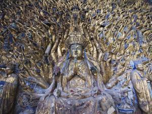 Statue of Avalokitesvara with One Thousand Arms, Dazu Buddhist Rock Sculptures, China by Kober Christian