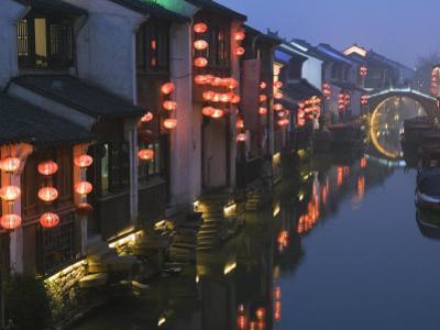 Traditional Old Riverside Houses, Shantang Water Town, Suzhou, Jiangsu Province, China by Kober Christian