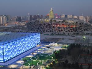 Water Cube National Aquatics Center and National Stadium at the Olympic Park, Beijing, China by Kober Christian
