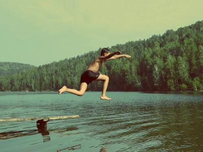 Boy Jumping in Lake at Summer Vacations - Vintage Retro Style by Kokhanchikov