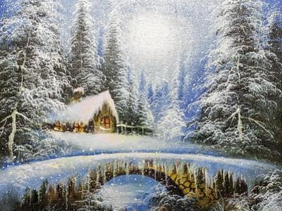 Texture Oil Painting, Impressionism Oil Painting Winter Landscape by Koliadzynska Iryna