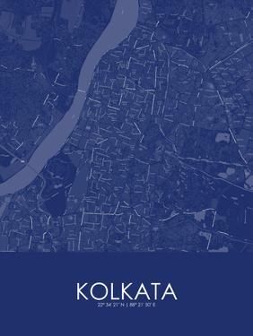 Kolkata, India Blue Map