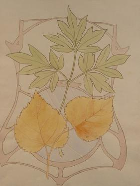 Design with Fig and Vine Leaves and a Sinuous Art Nouveau Motif in the Background. by Koloman Moser