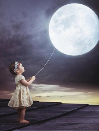 Fairy Portrait of a Little Cute Girl with a Moony Balloon by Konrad B?k