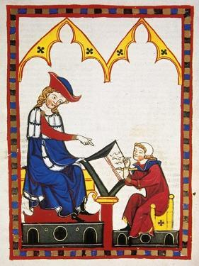 Konrad Von Wurzburg, Who Died in 1287, Dictates to a Scribe. Fol. 383R. Codex Manesse (Ca.1300)