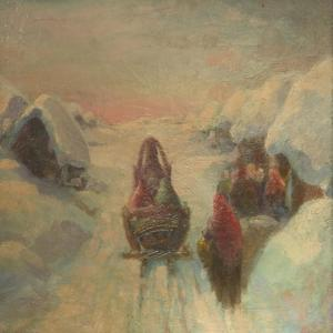 Winter, Sledge Driving by Konstantin Konstantinovich Pervukhin