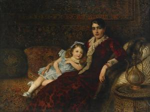 Interior with Mother and Daughter, 1884 by Konstantin Yegorovich Makovsky