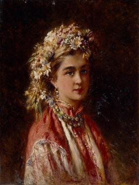 Young Girl with Flower Garland by Konstantin Yegorovich Makovsky