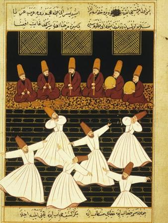 Konya Whirling Dervishes Ritual, 16th Century, Ottoman Miniature of the Anatolian School