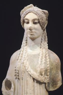 Kore 674, Ca 500 Bc, Paros Marble Statue from Archaic Age, from Acropolis in Athens
