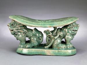 Pillow, Late 12th Century (Celadon with Inlaid Slip Decoration) by Korean