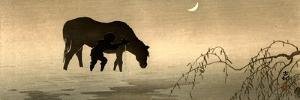Farmer and Horse in the Water by Koson Ohara