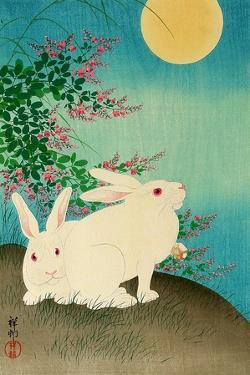 Rabbits and the Moon by Koson Ohara