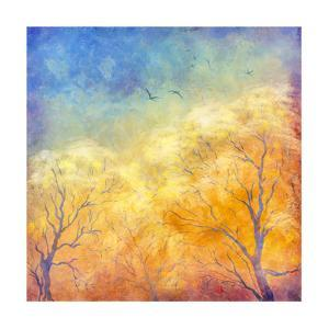 Digital Oil Painting Autumn Trees, Flying Birds by kostins