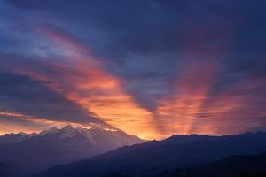 Mountain Landscape at Dawn. Beautiful Sky with Sunbeams and Clouds. View from Mount Mkheer. Zemo Sv by Kotenko