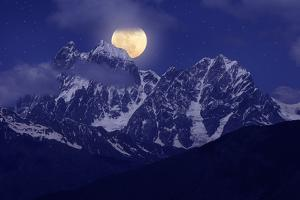 Night Landscape with the Mountains and the Full Moon by Kotenko