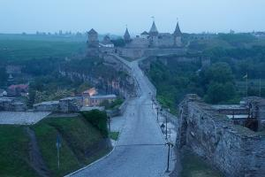 Road Leading to the Medieval Castle. Fortification Historical Landmark. Cityscape at Dusk. Kamenetz by Kotenko