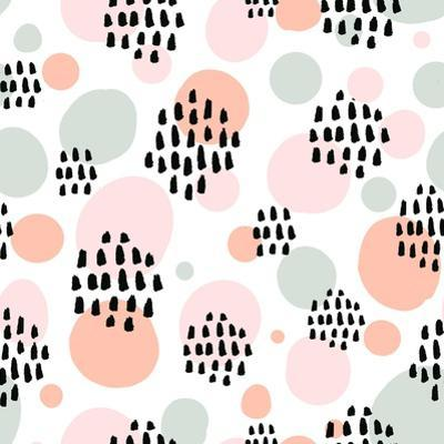 Abstract Pastel Seamless Pattern with Black Marker Strokes. Light Blue and Pink Colors, Spring Summ by kotoko