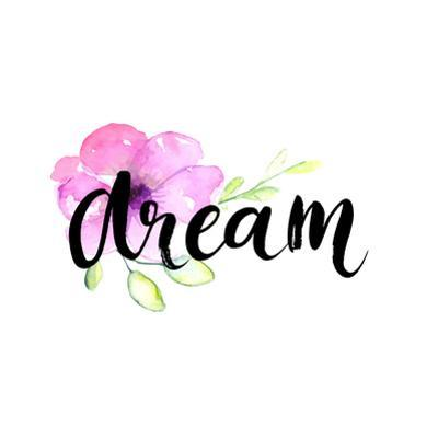 Dream - Inspirational Word at Pastel Violet Background, Typography for Poster, T-Shirt or Card. Vec by kotoko