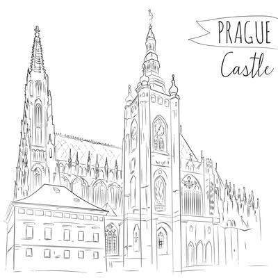 Hand Drawn Illustration of Prague Castle, Czech Republic.