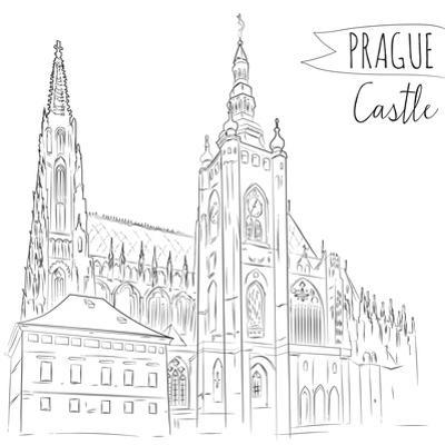 Hand Drawn Illustration of Prague Castle, Czech Republic. by kotoko