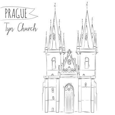 Hand Drawn Illustration of Tyn Church Building in Prague, Czech Republic.