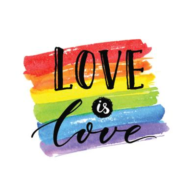 Love is Love - LGBT Pride Slogan against Homosexual Discrimination. Modern Calligraphy on Rainbow W by kotoko
