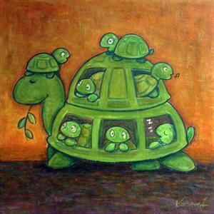 Turtle Family by Kourosh