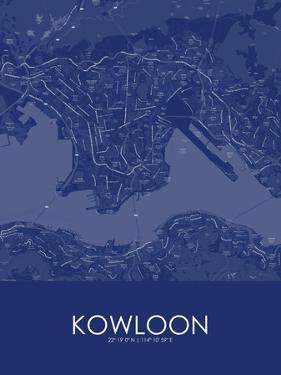Kowloon, Hong Kong, Special Administrative Region of China Blue Map