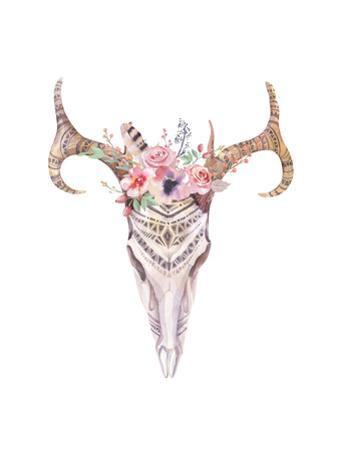 Bohemian Deer Skull Watercolor by Kris_art