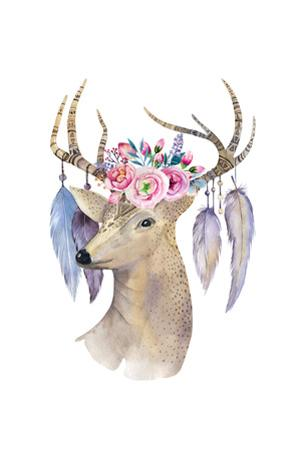 Boho Deer - Watercolor Illustration by Kris_art