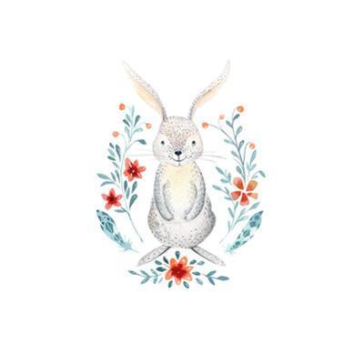Cute Baby Rabbit Watercolor by Kris_art