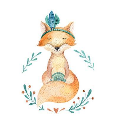 Cute Deco Baby Fox by Kris_art