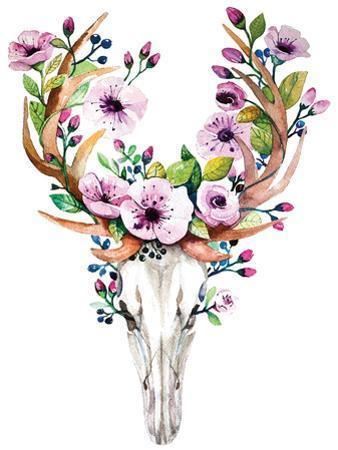 Deer Skull with Flowers - Watercolor by Kris_art