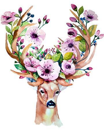 Deer with Flowers - Watercolor by Kris_art