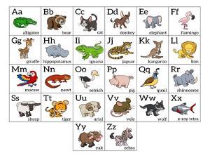 Cartoon Animal Alphabet Chart by Krisdog