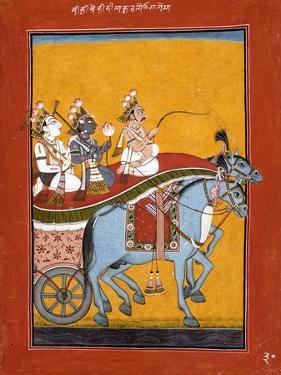 Krishna and Balarama Being Driven by Akrura to Mathura
