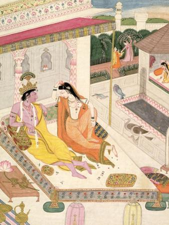 Krishna and Radha on a Bed in a Mogul Palace, Punjab, c.1860
