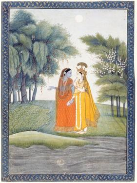 Krishna and Radha Walking by the Jumna in the Moonlight Having Exchanged Clothes, from the…