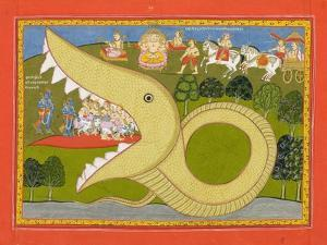 Krishna and the Cowherds Enter Agasura's Mouth, C.1800