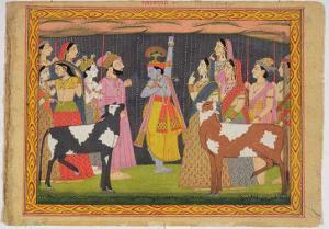 Krishna Lifting Mount Govardhana, from the Bhagavata Purana, Kulu, Himachal Pradesh, 1749