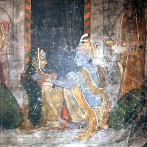 Krishna Sitting with the Gopis (Daughters of the Cowherds)